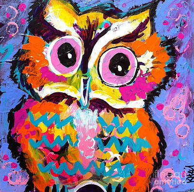 Chevron Owl Painting - Ziggy The Great Horned Owl by Kim Heil