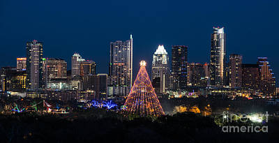 Austin Skyline Photograph - Zilker Christmas Tree  by Tod and Cynthia Grubbs