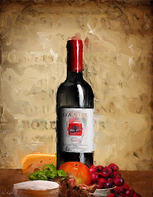 Wine Art Painting - Zinfandel Iv by Lourry Legarde