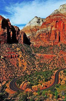 Curving Road Photograph - Zion Hairpin by Benjamin Yeager