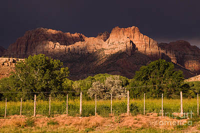 Zion Peaks Lit By Dramatic Sunlight Dark And Light And Storm Clouds Rockville Utah Print by Robert Ford