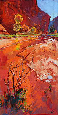 Backpacking Painting - Zion Wash by Erin Hanson