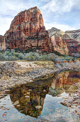 Zions National Park Angels Landing - Digital Painting Print by Gary Whitton