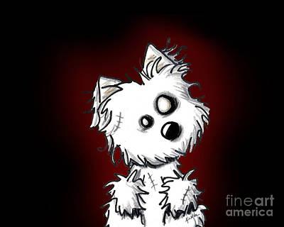 Westie Digital Art - Zombie Dog by Kim Niles