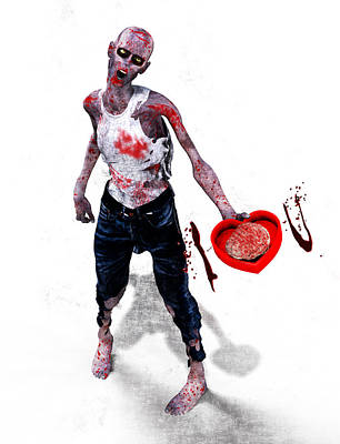 Zombie Love Print by Frederico Borges