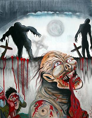 Zombie Painting - Zombie Moon by Laura Barbosa