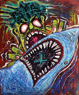 Shark Painting - Zombie Shark Fight by Laura Barbosa