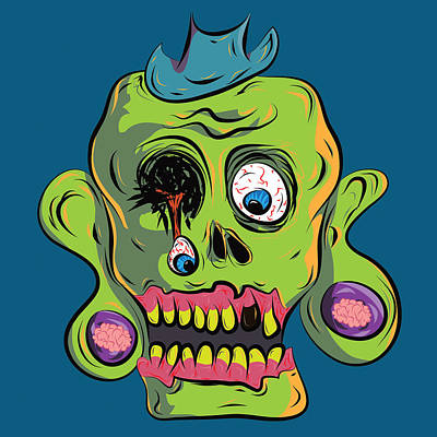 Outsider Digital Art - Zombie Skull by Jera Sky