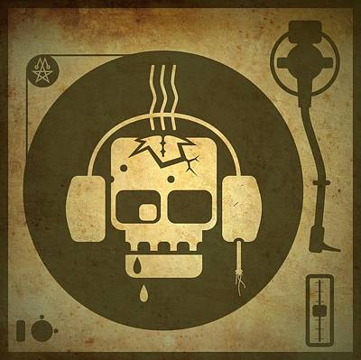 Listening Digital Art - Zombie Turntable by Milton Thompson