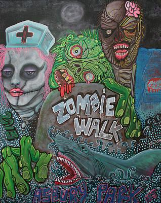 Asbury Park Painting - Zombie Walk by Laura Barbosa