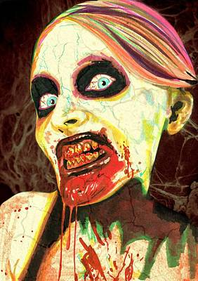 Drawing - Zombie Woman by Kyle Willis