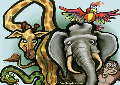 Snake Digital Art - Zoo Animals by Kevin Middleton