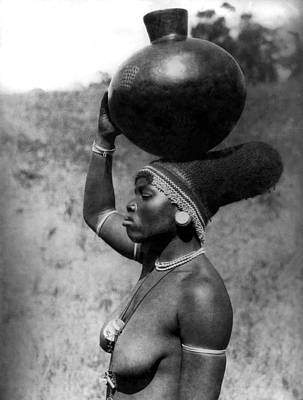 Bare Breasts Photograph - Zulu Bride Carrying Water by Underwood Archives