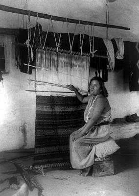 Handloom Photograph - Zuni Blanket Weaver, C1900 by Granger