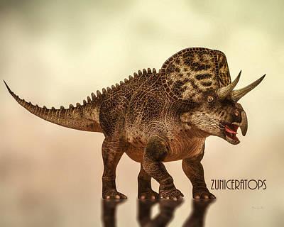 Dinosaur Digital Art - Zuniceratops Dinosaur by Bob Orsillo