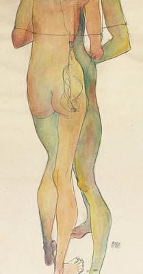 Zwei Stehende Akte Print by Egon Schiele