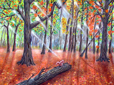 Squirrel Painting -     Autumn's Magic Light by Ronald Haber