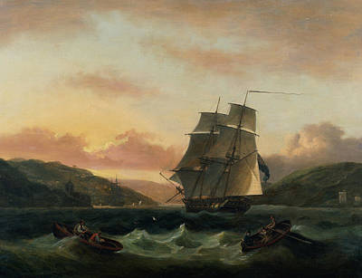 A Brigantine In Full Sail In Dartmouth Harbour Print by Thomas Luny