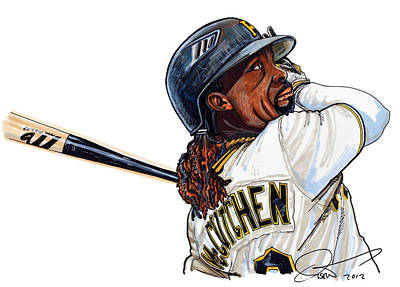 Baseball All Stars Drawing -  Andrew Mccutchen by Dave Olsen
