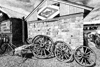 Antique Wagon Wheels Print by James Steele