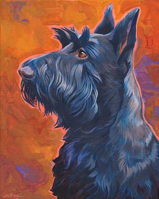 Scottish Dog Painting -  Beam Me Up Scottie by Shawn Shea