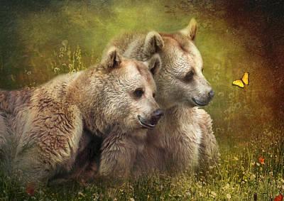 Cuddly Digital Art -  Bear Hugs by Trudi Simmonds
