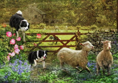 Puppy Digital Art -  Collecting The Strays by Trudi Simmonds