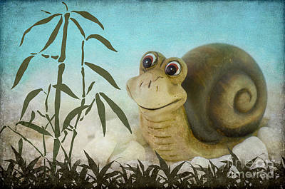 Smiling Mixed Media -  Frany The Snail by Angela Doelling AD DESIGN Photo and PhotoArt