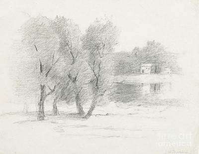 Charcoal Landscape Drawings Drawing -  Landscape - Late 19th-early 20th Century by John Henry Twachtman