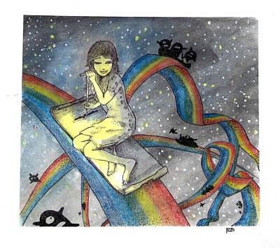 Painting -  Midnight's Rainbows by Katchakul Kaewkate