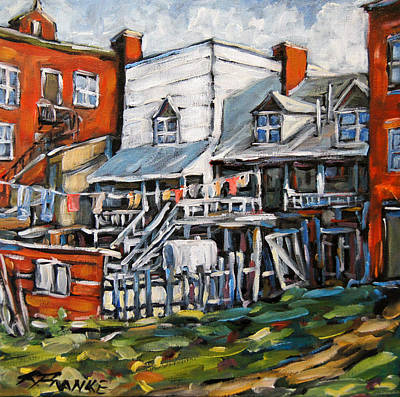 Quebec Cities Painting -  Montreal Griffintown Urban Scene Les Miserables By Prankearts by Richard T Pranke