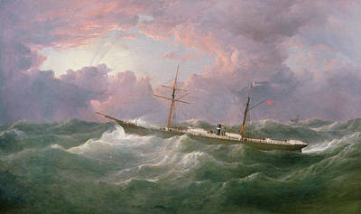 Storm Clouds Painting -  Portrait Of The Lsis A Steam And Sail Ship by Samuel Walters