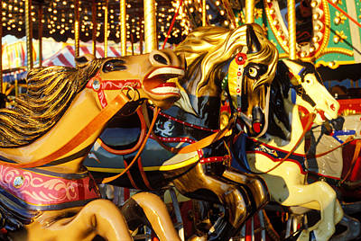 Antique Carousel Photograph -  Wild Carrousel Horses  by Garry Gay