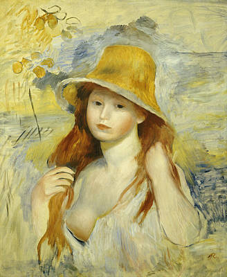 Young Girl With A Straw Hat Print by Pierre Auguste Renoir