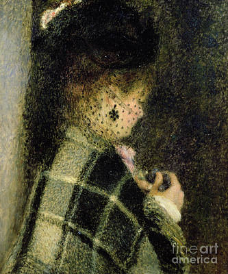 Smallmouth Bass Painting -  Young Woman With A Small Veil by Pierre Auguste Renoir