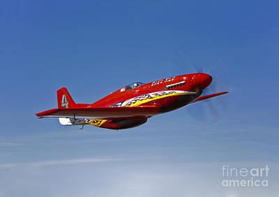 A Dago Red P-51g Mustang In Flight Print by Scott Germain