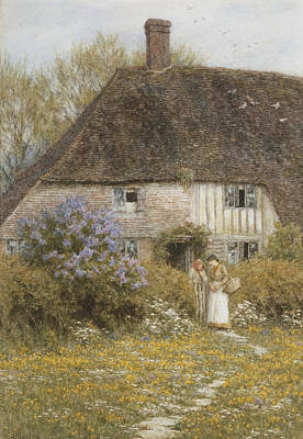 Architectural Artist Painting - A Kentish Cottage by Helen Allingham