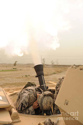 A M120 Mortar System Is Fired Print by Stocktrek Images