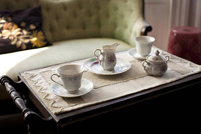 Tableware Photograph - A Sofa In A Living Room And A Tea Tray by Christian Scully