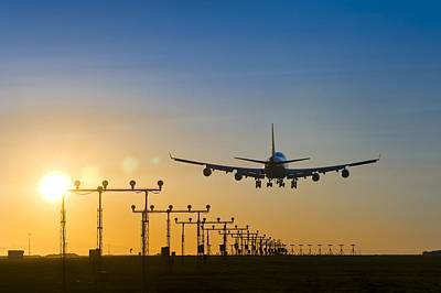 Passenger Plane Photograph - Aeroplane Landing At Sunset, Canada by David Nunuk
