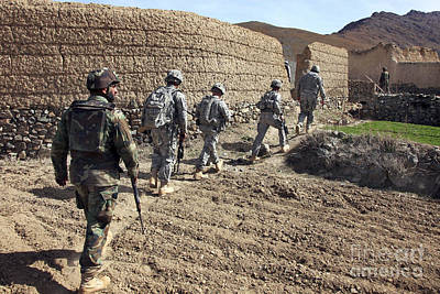 Afghan National Army And U.s. Soldiers Print by Stocktrek Images