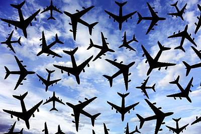 Passenger Plane Photograph - Air Traffic, Conceptual Image by Victor De Schwanberg