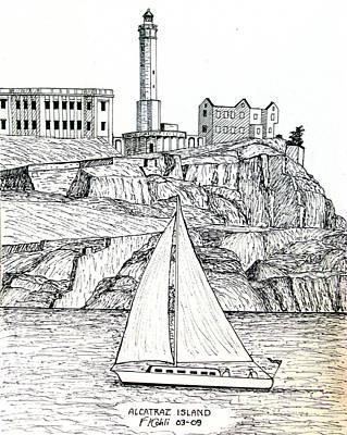 Alcatraz Drawing - Alcatraz Island by Frederic Kohli