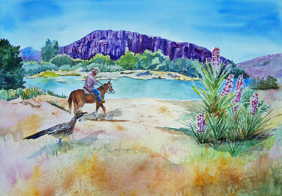 Road Runner Painting - Texas - Along The Rio-grande by Christine Lathrop