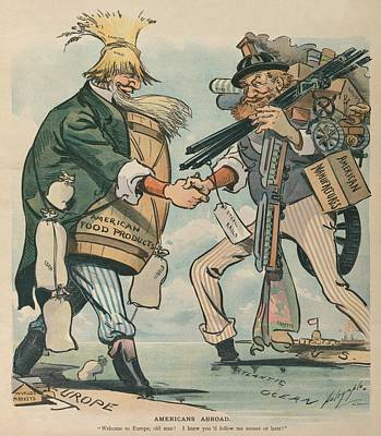 Americans Abroad. Cartoon Captioned Print by Everett