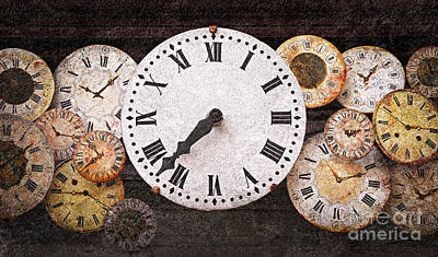 Antique Clocks Print by Elena Elisseeva