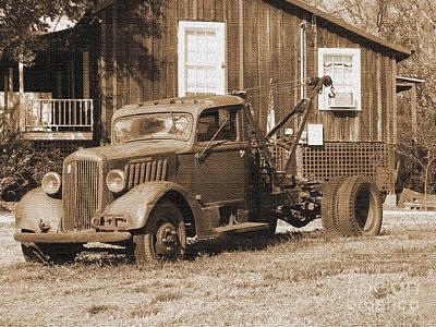 Antique Tow Truck Print by Barbara Bowen