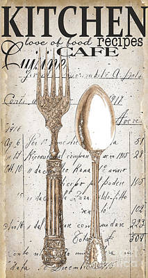 Cafes Painting - Antique Utensils For Kitchen And Dining In White by Grace Pullen
