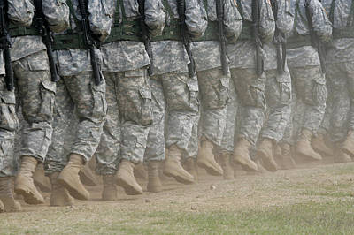 Army Rangers Marching In Formation Print by Skip Brown