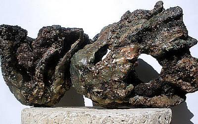 Hypertufa Sculpture - Art Reef Rock Series  Planter Sculpture Set Of 2 by Randy Stewart